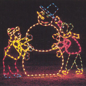 ANIMATED FROSTY AND KIDS Holiday Light Display