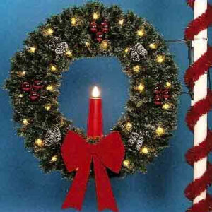5' GARLAND WREATH W/23 INCH RED CANDLE